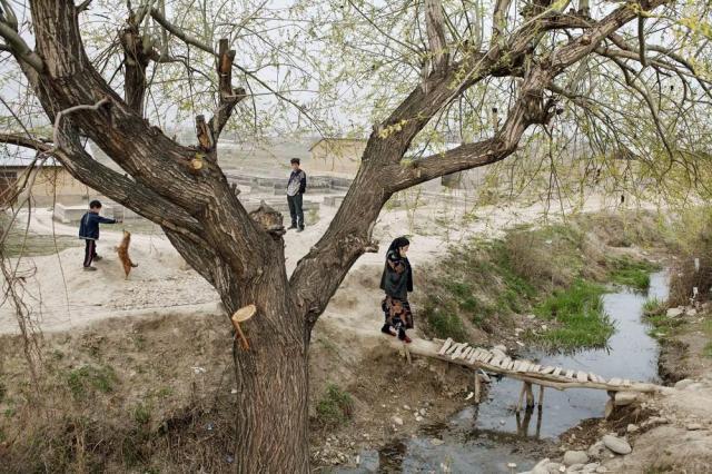 Uma cidade de fronteira perto de Osh, Quirguistão, no Vale de Fergana. No labirinto de canais de irrigação e drenagem que atravessam a Ásia Central, grandes quantidades de água que foram desviadas de dois rios se perdem por evaporação e vazamentos. Carolyn Drake/MAGNUM PHOTOS, 2008