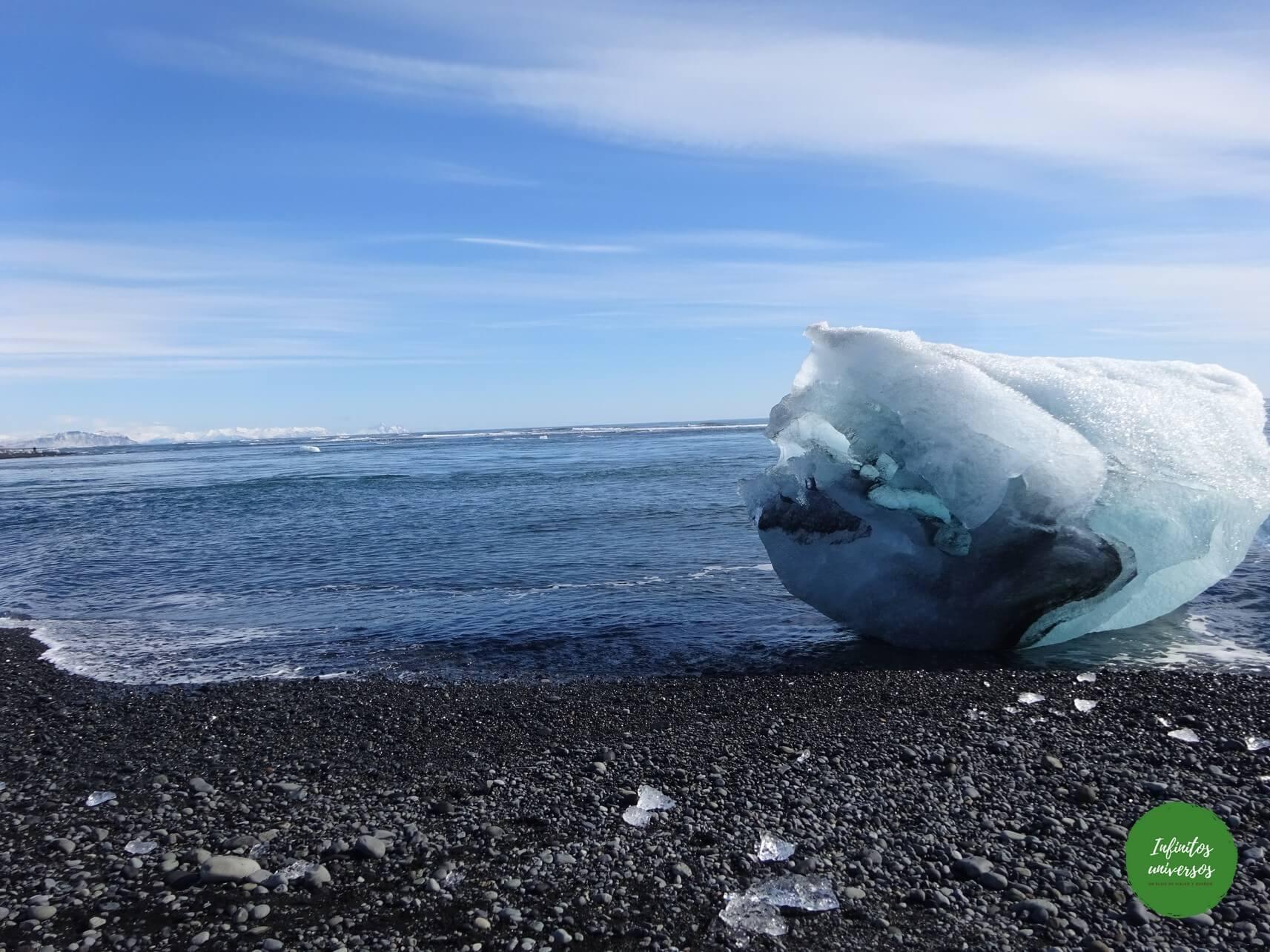 Icebergs en la playa de los diamantes excursiones desde reikiavik