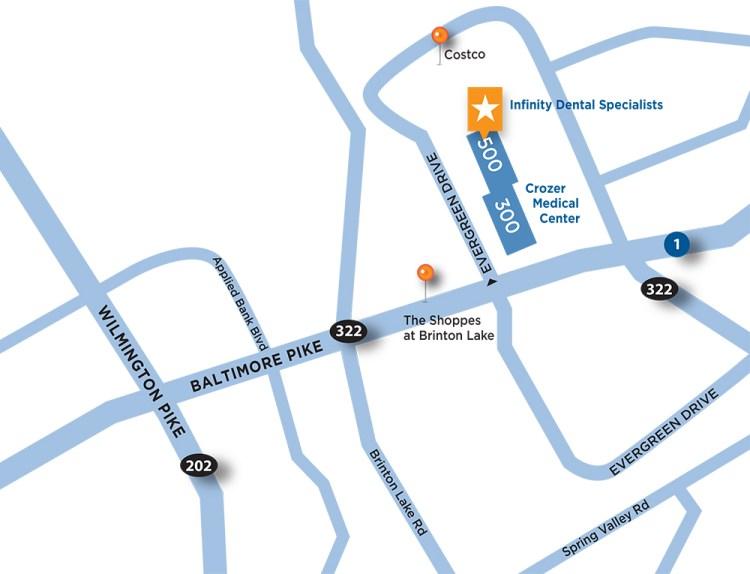 Infinity Dental Specialists Glen Mills Map
