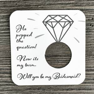 He popped the question! Now its my turn... Will you be my bridesmaid? Plain white card stock.