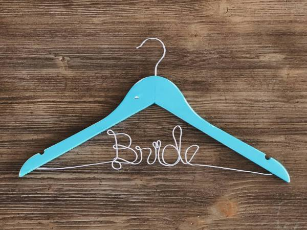 Rustic Teal Bride Hanger with Silver Wire