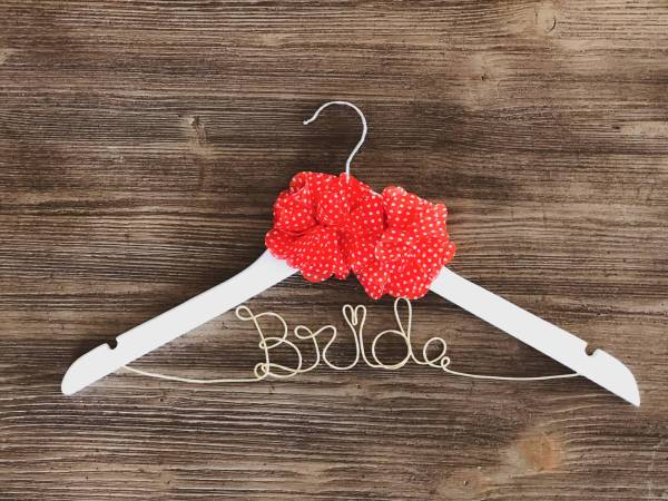 White Bride Hanger with 2 red and white polka dotted flowers and Gold Wire