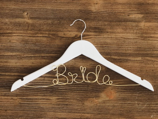 White Bride Hanger with Gold Wire