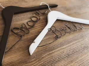 Black Groom and White Bride Hanger with Black Wire