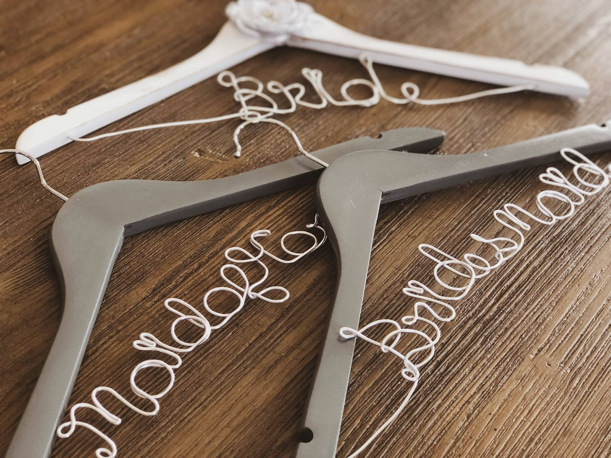 Rustic White Bride hanger with Grey Flower and Silver Wire, and Grey Maid of Honor and Bridesmaid Hanger with Silver Wire