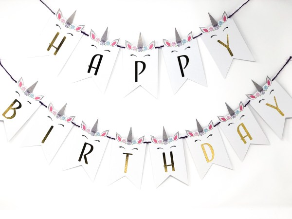 Unicorn Happy Birthday Personalized Banner
