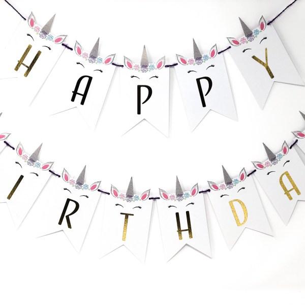 Unicorn Happy Birthday Personalized Banner