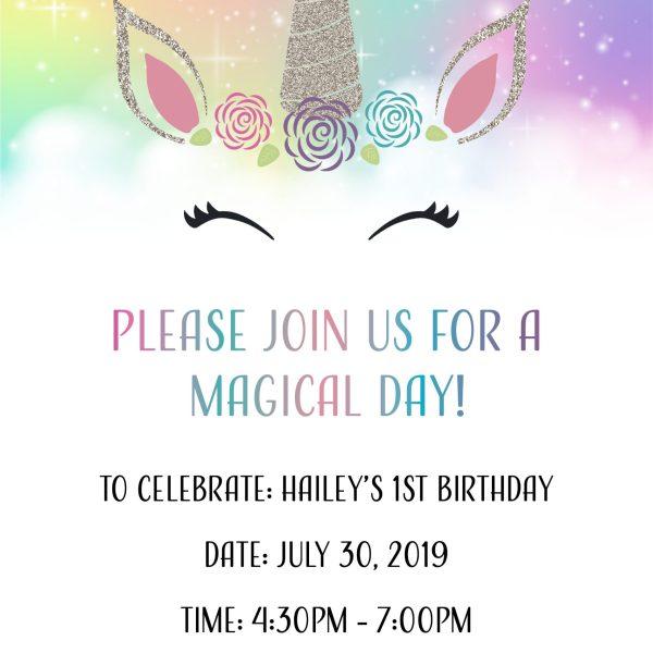 Unicorn Birthday Party Invitation