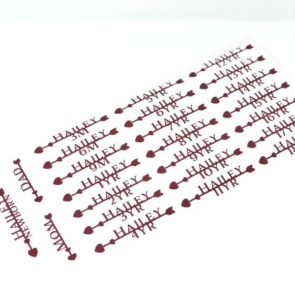 growth chart vinyl decals