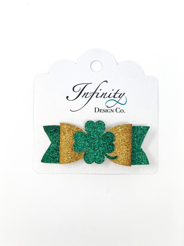 St. Patrick's Day Four Leaf Clover Bow Hair Clip