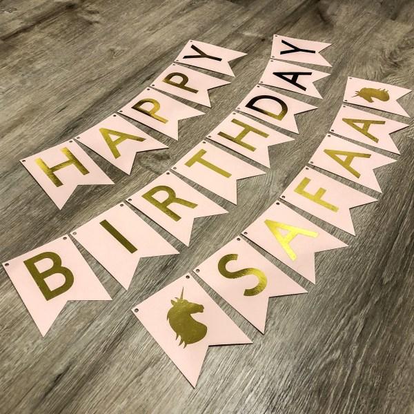 Personalized Unicorn Happy Birthday Banner