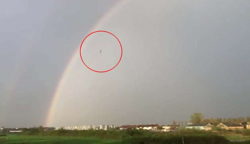 As in The War of the Worlds: A mysterious black object falls from the sky during a thunderstorm