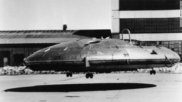Canadian company AV Roe (Avro) Aircraft developed a similar piece, which was eventually built and tested by the US military. However, the saucer-shaped helicopter (Vz9 Avrocar)