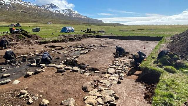 Excavations in the more modern communal house of the two found in Stöð. Viking Settlement