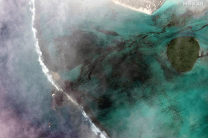 Oil spill off Mauritius coast can be seen from space