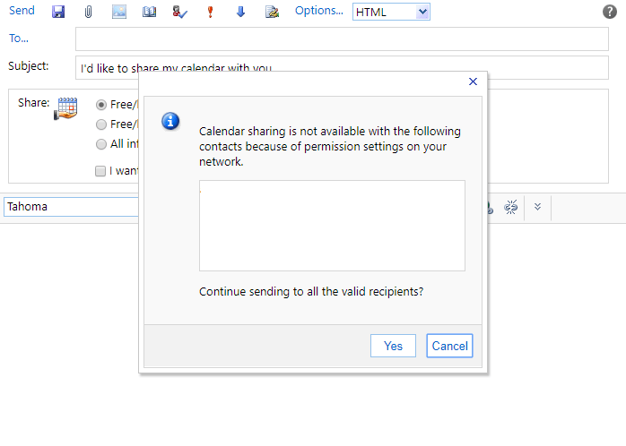 outlook cant share calendar out of network