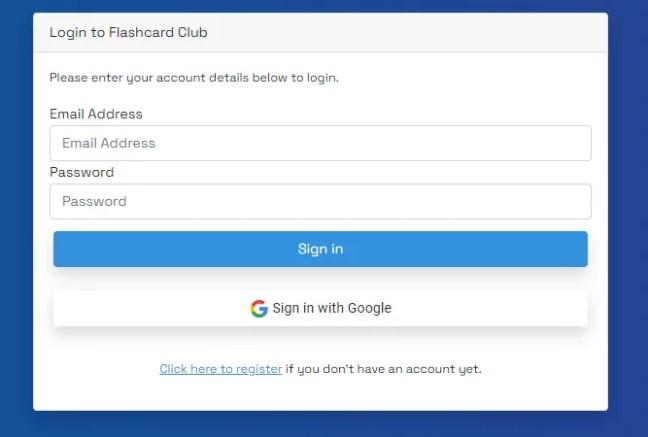 Flashcard Club's Login Options