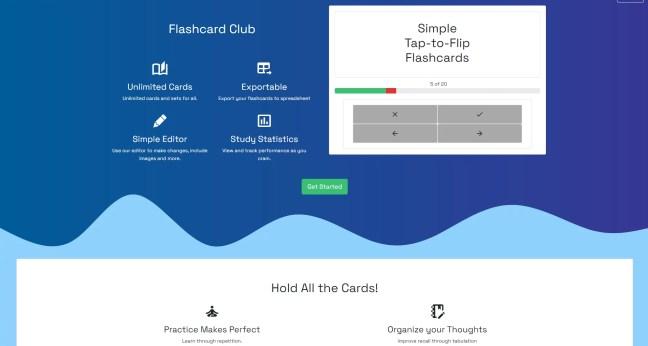 Flashcard Club's V0.0.3 Homepage