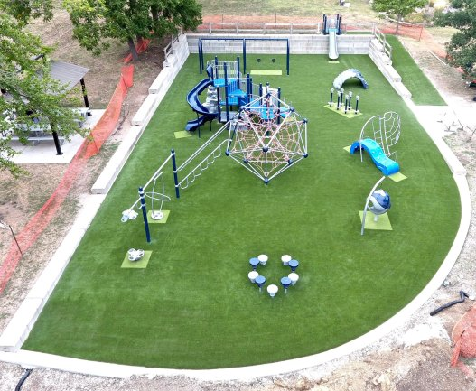 playground with synthetic grass turf