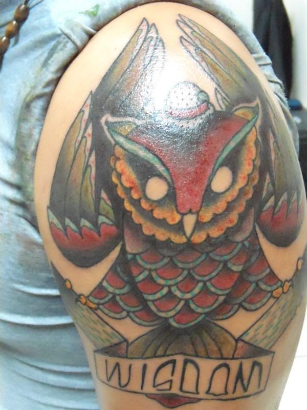 Owl Wisdom Tattoo Design