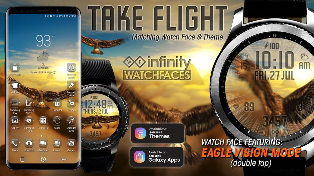 Take Flight Watch Face for Samsung Galaxy Watch & Theme for Note 9, S9, S8