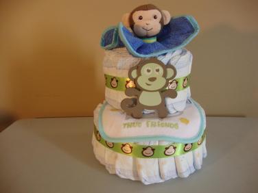 Mini 2 Tier Diaper Cake - $55