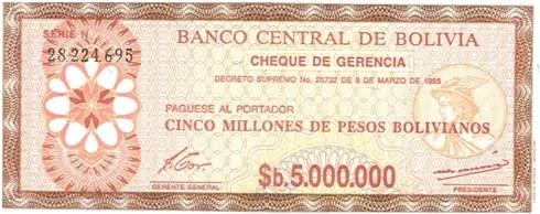 Bolivia – 5 million pesos bolivianos, 1985