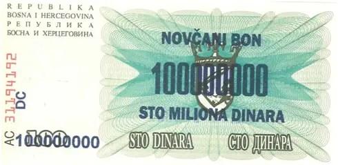 Bosnia – 100 million dinar, 1993