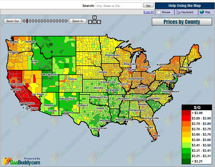Current Average Cost of Gas by County on