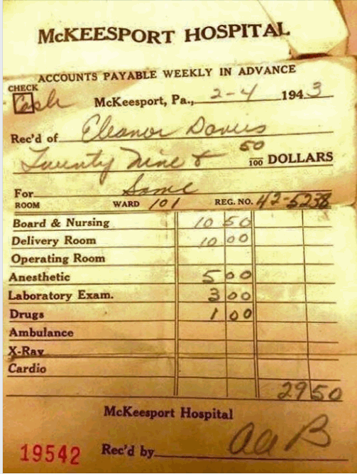 1943 Hospital Delivery Bill