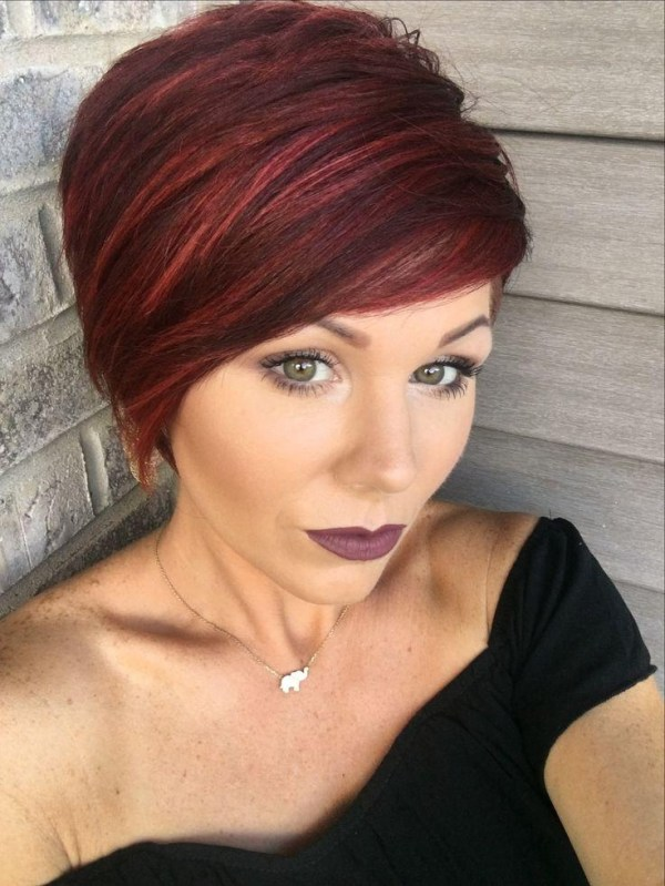 Short Hairstyles Red Highlights