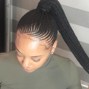 of cornrow updo ponytail