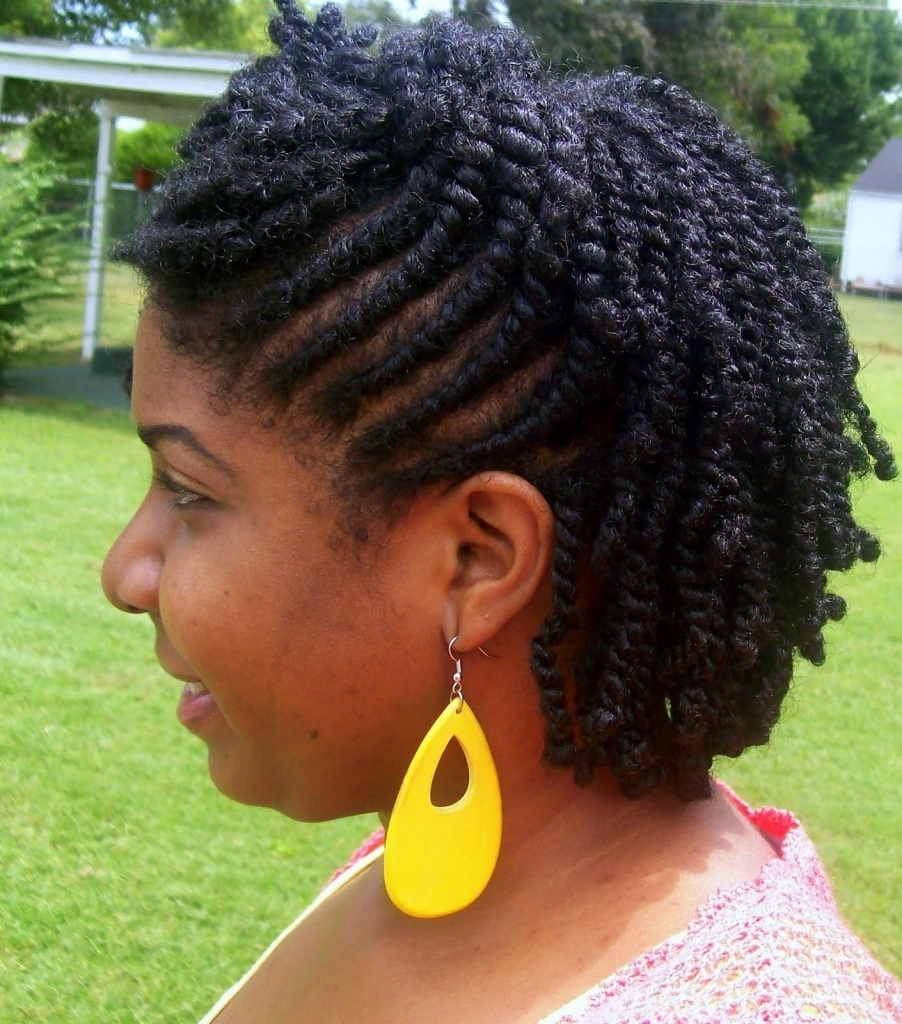 2019 Latest Two Strand Twist Updo Hairstyles For Natural Hair
