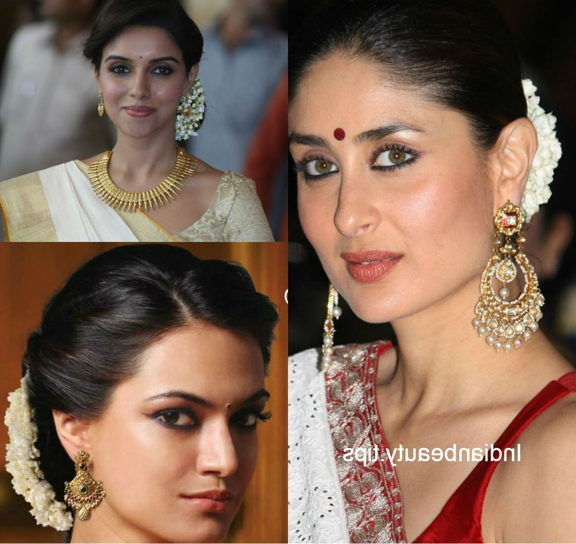 straight hair hairstyles for saree