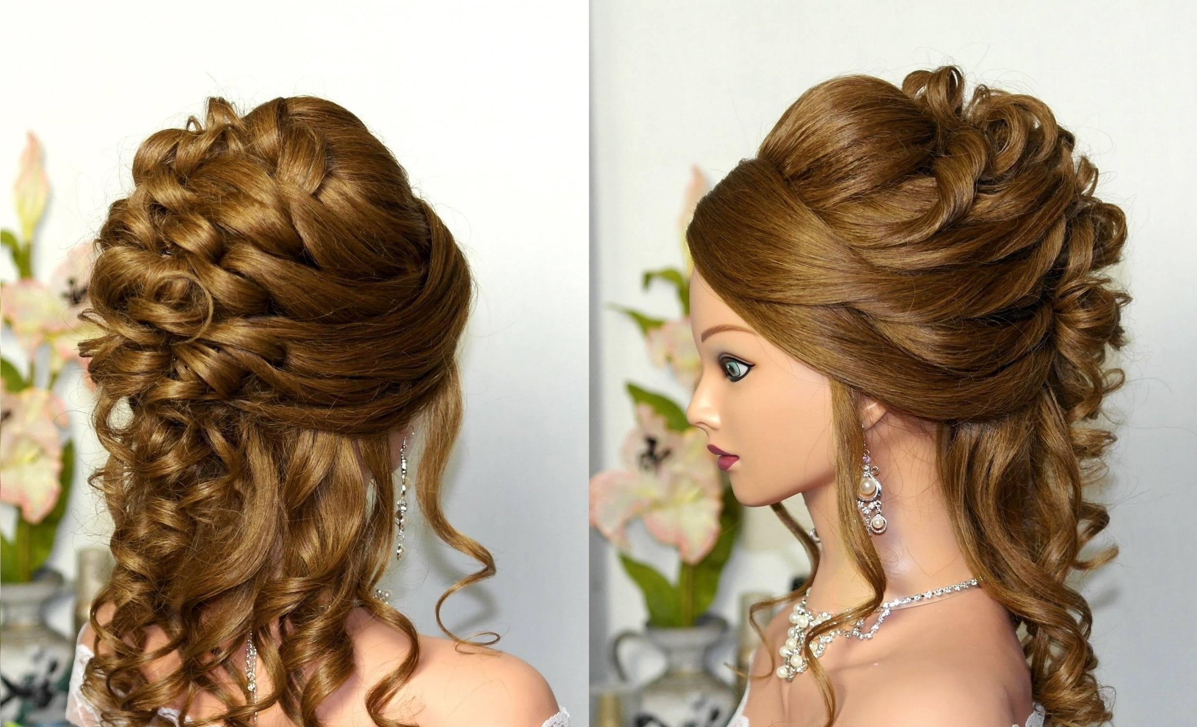 2019 Popular Simple Wedding Hairstyles For Long Curly Hair