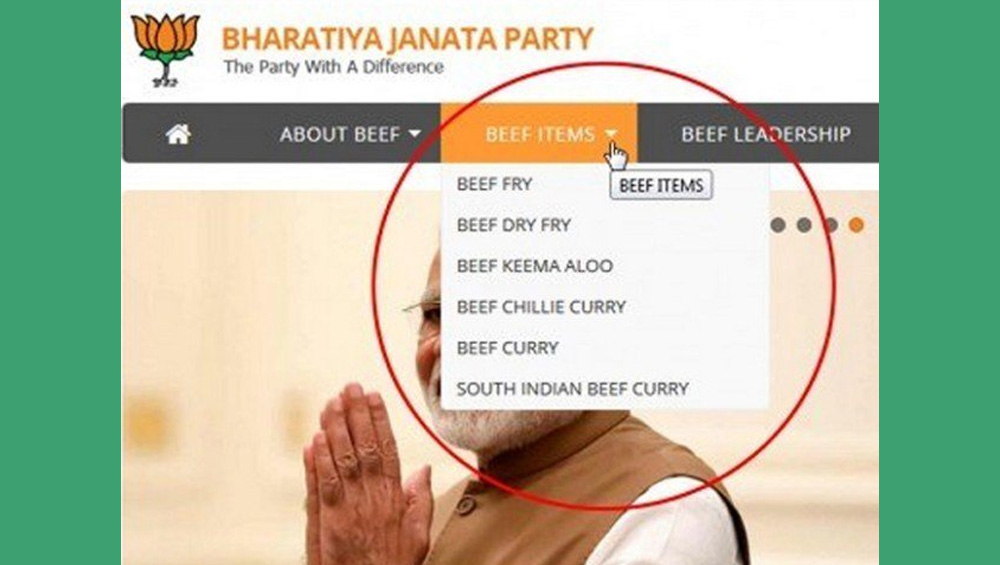 """Hackers replace """"BJP"""" with """"Beef"""" on the party's official website"""