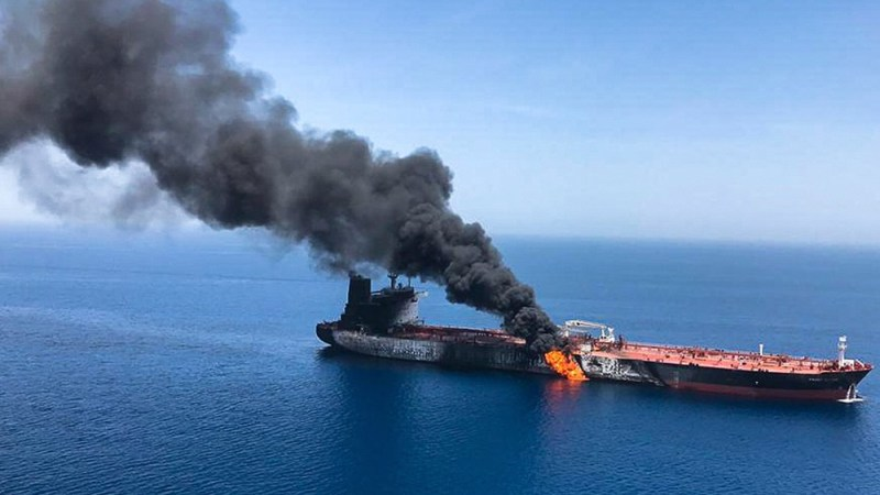Two oil tankers hit by explosions in Gulf of Oman: US blames Iran