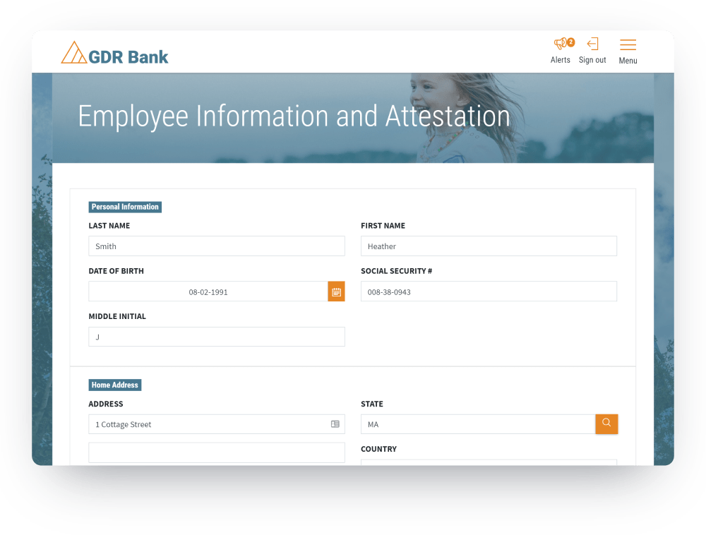 Compliance I9 screen of core HR