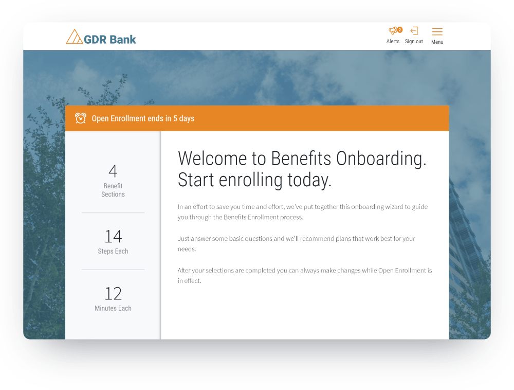 Benefits onboarding screen of core HR