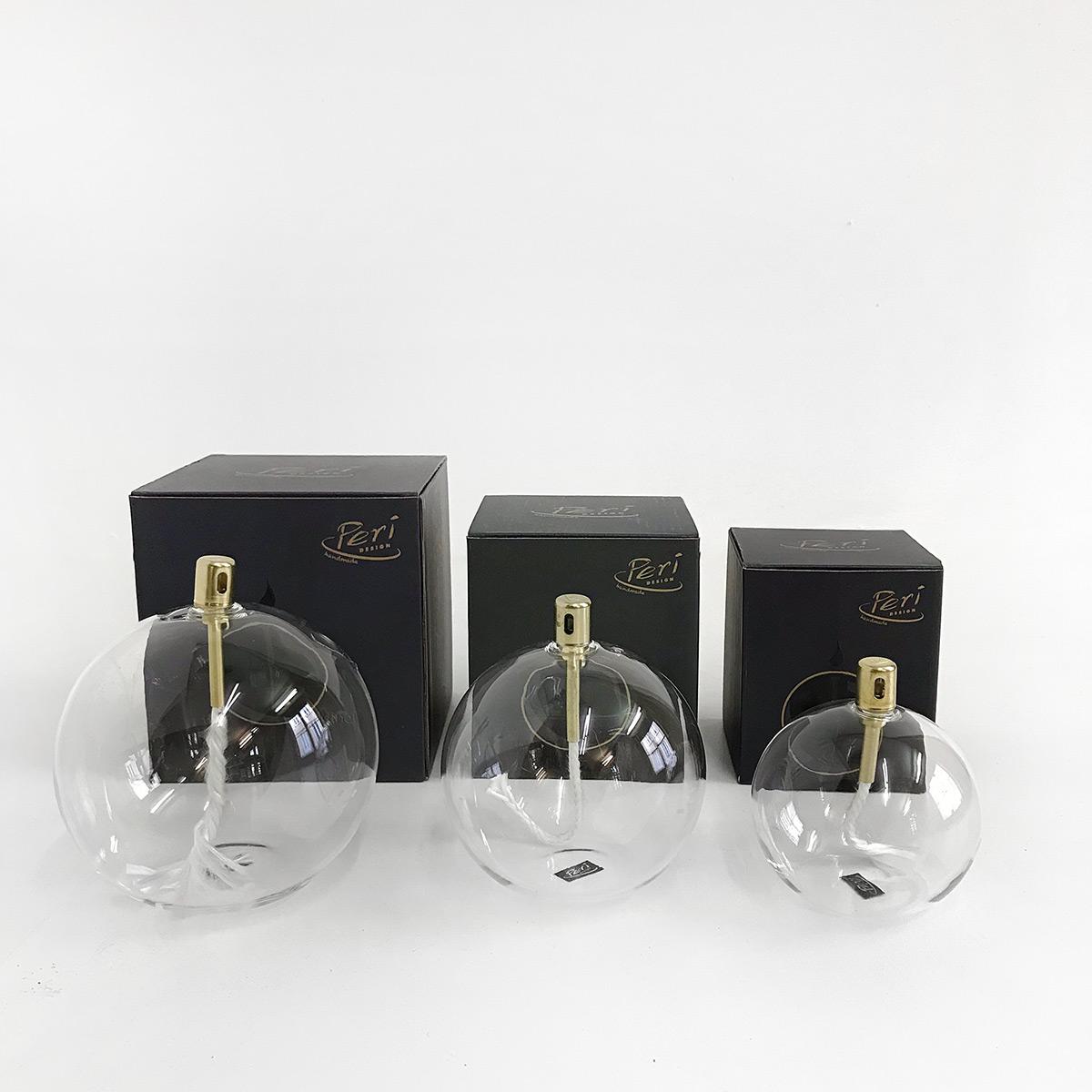 Lampe à huile verre et laiton