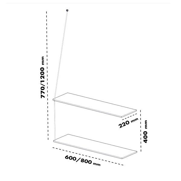 Dimensions étagère murale minimaliste et épurée, Stedge Woud design chêne