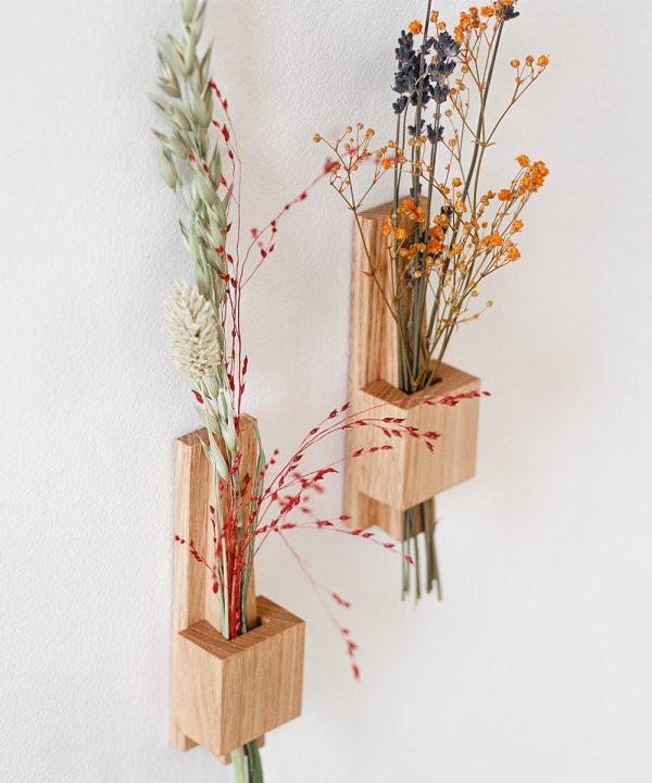 Soliflore mural en bois massif made in france fleurs sechees
