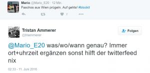 """Ammerer fragt nach Zeit & Ort zum """"Faschos prügeln""""."""