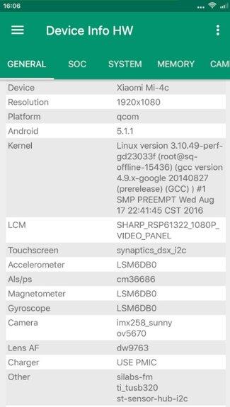 Info del dispositivo HW.