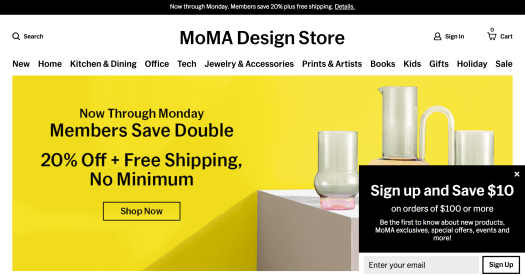 """Screenshot of MoMA Design Store,image of three glass vases. Text says """"Sign up and save $10"""""""