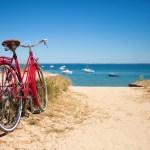 Rotes Fahrrad vor Meerkulisse auf Walcheren in Zeeland