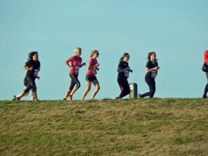 Läuferinnen auf Deich von Zoutelande beim Küstenmarathon Zeeland