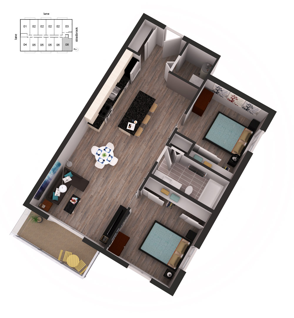 3D Floor Plan Unit 61