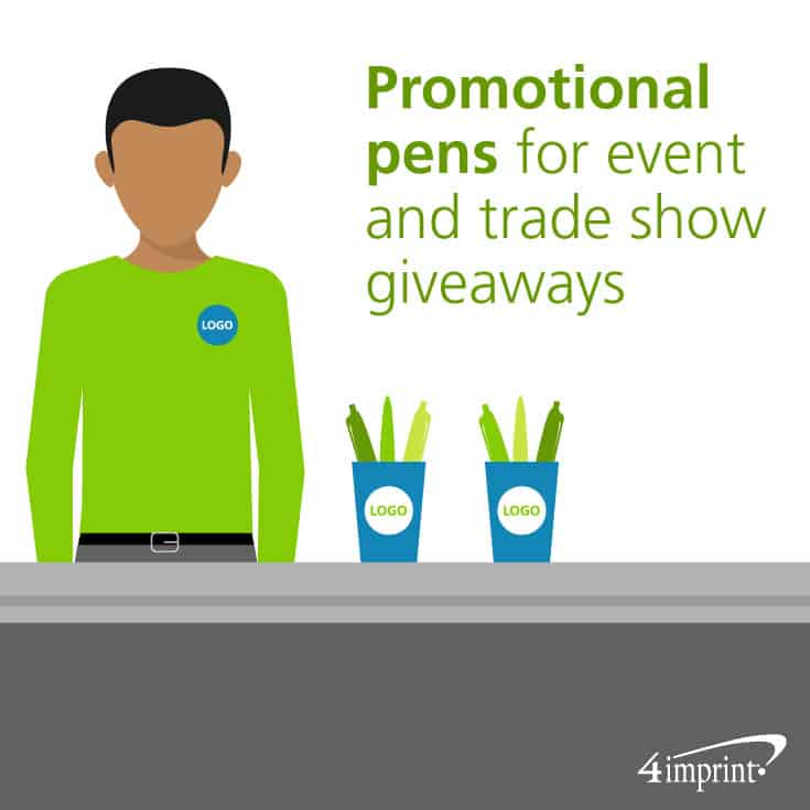 Distribute promotional pens at events and as trade show giveaways.