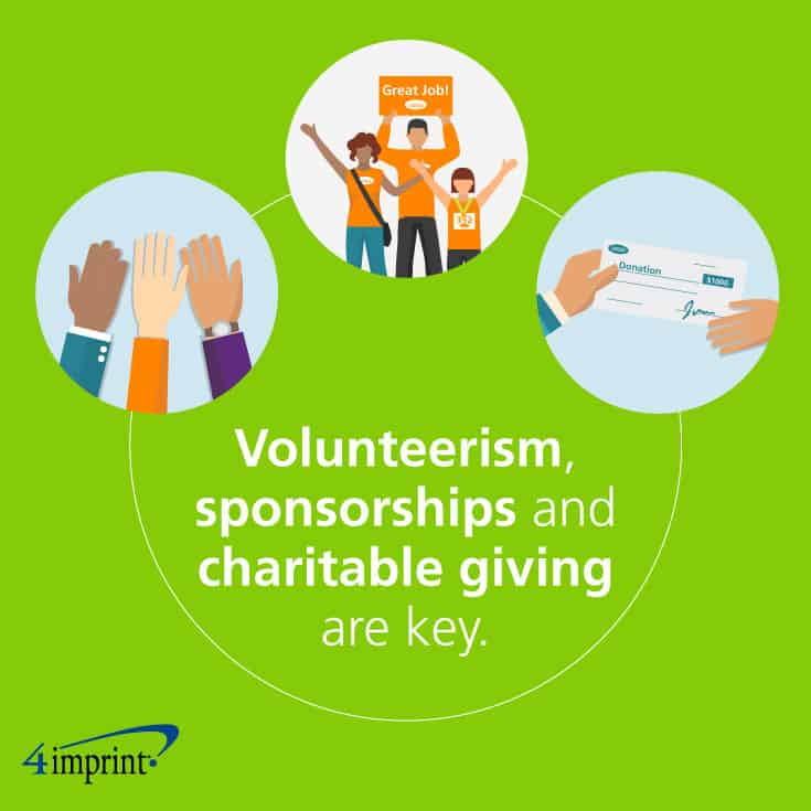 Volunteerism, sponsorships and charitable giving are key.